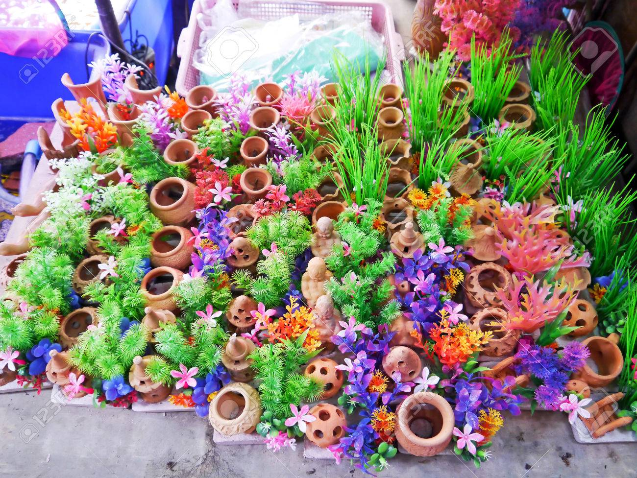 Colorful Furniture Water Plants For Fish Tank. Stock Photo, Picture ...