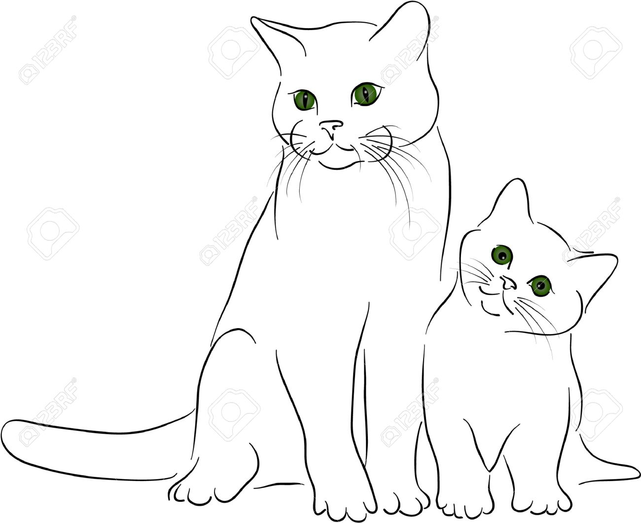 Big Little Cats Royalty Free Cliparts Vectors And Stock