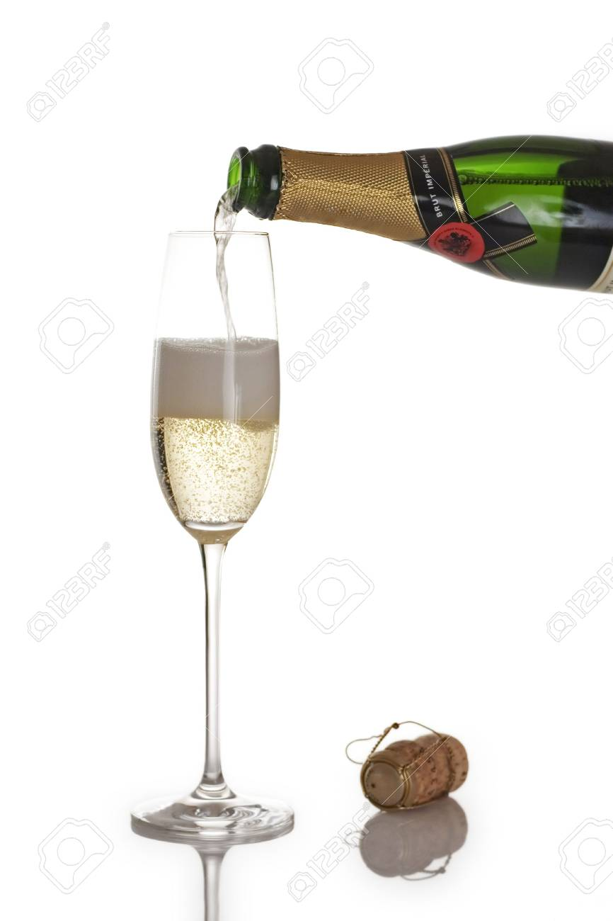 Champagne bottle and flute isolated over a white background Stock Photo - 507430