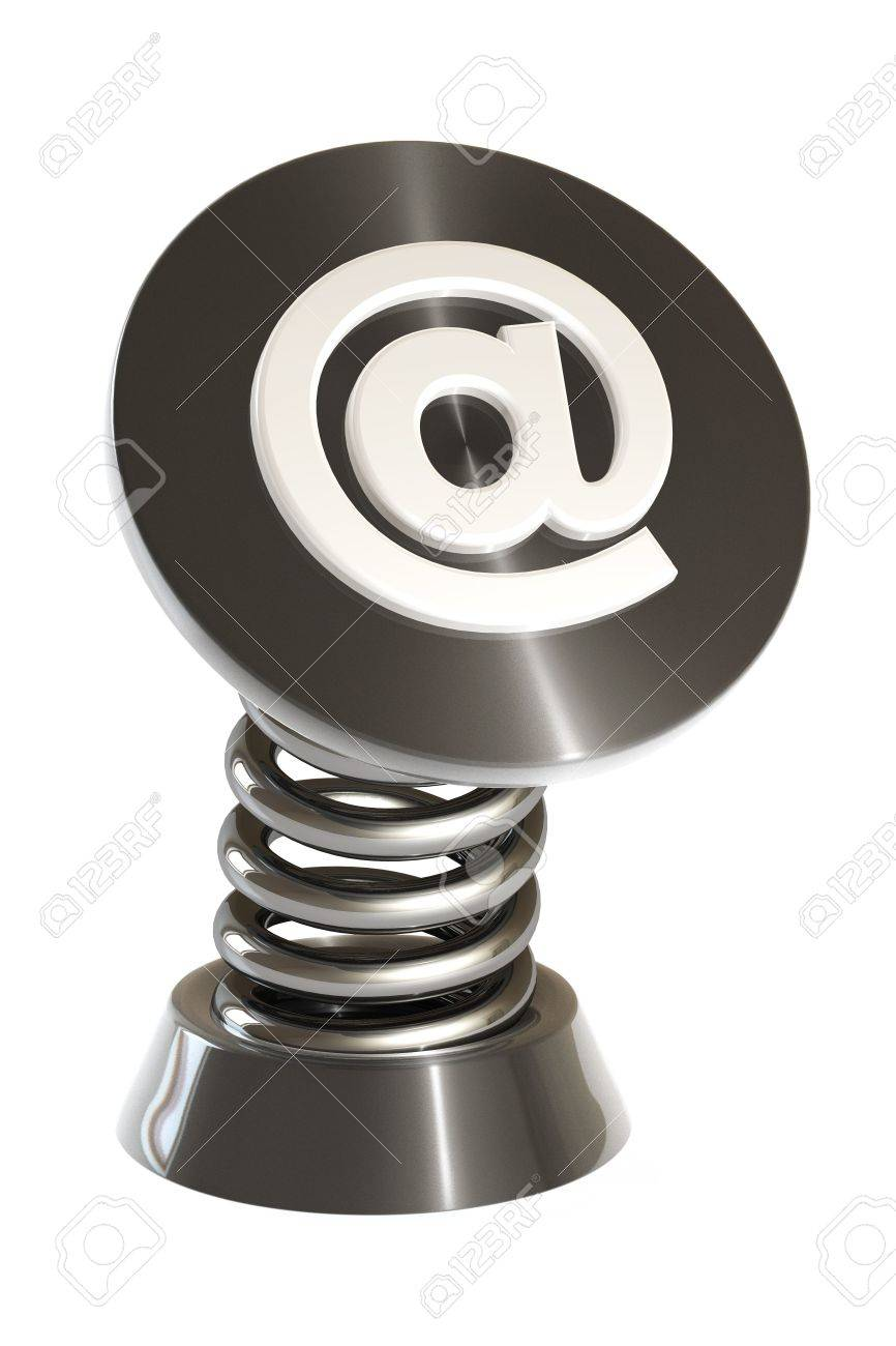 email symbol on a spring gadget isolated over a white background. This is a 3D rendered picture. Stock Photo - 860729