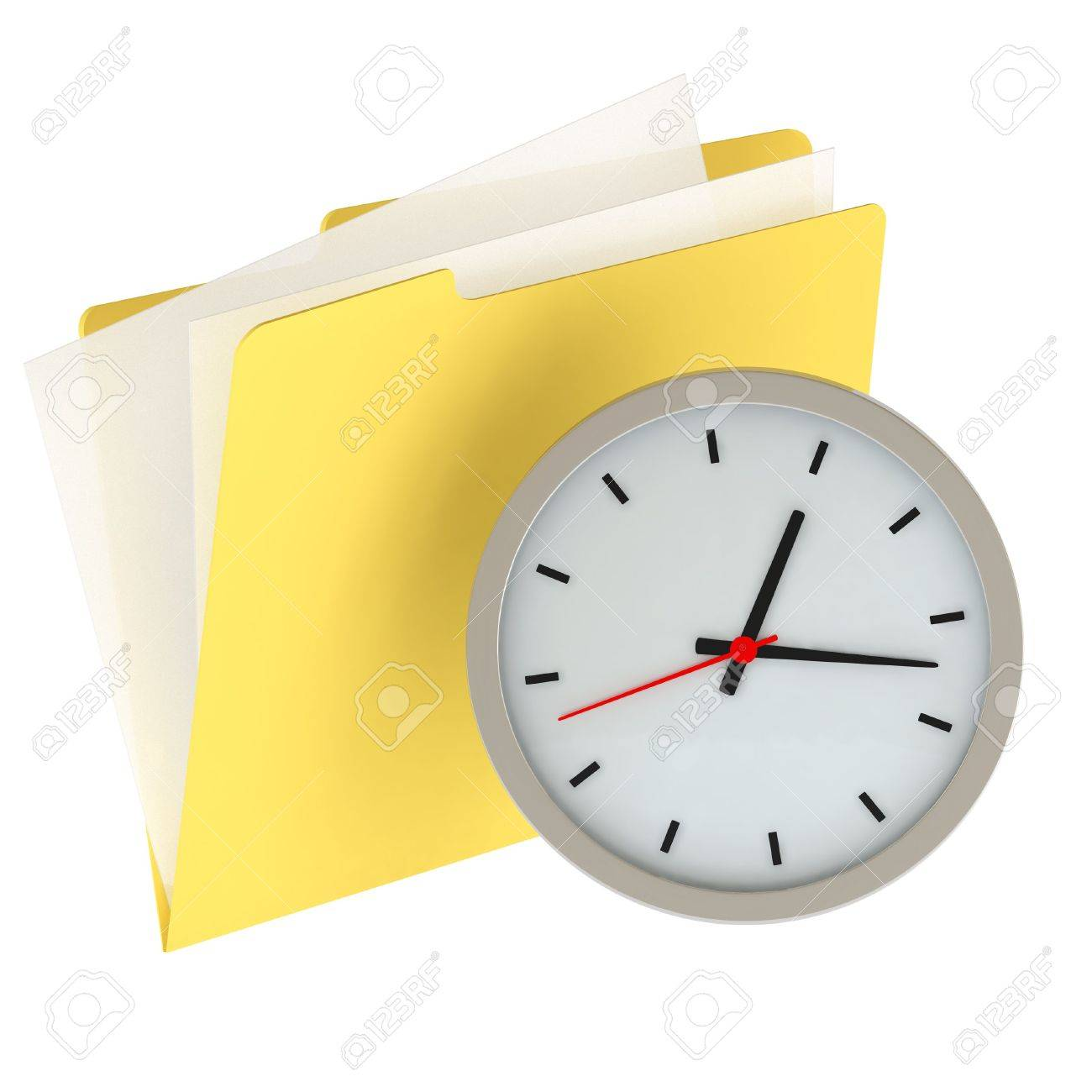 Folder icon with clock isolated over a white background. This is a 3D rendered picture. Stock Photo - 860742