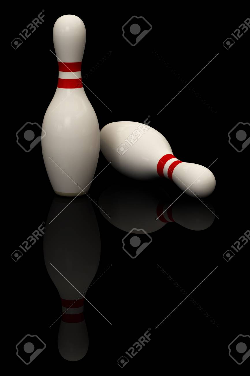 Bowling pins isolated over a black background. This is a 3D rendered picture. Stock Photo - 1200869