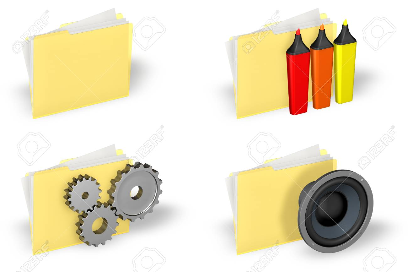 Yellow folder icons set isolated over a white background. Stock Photo - 1639899