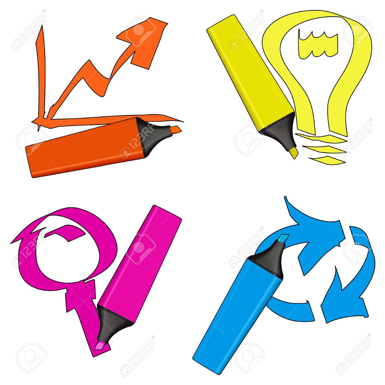 Highlighter pens with color symbols isolated over a white background. Stock Photo - 2713667