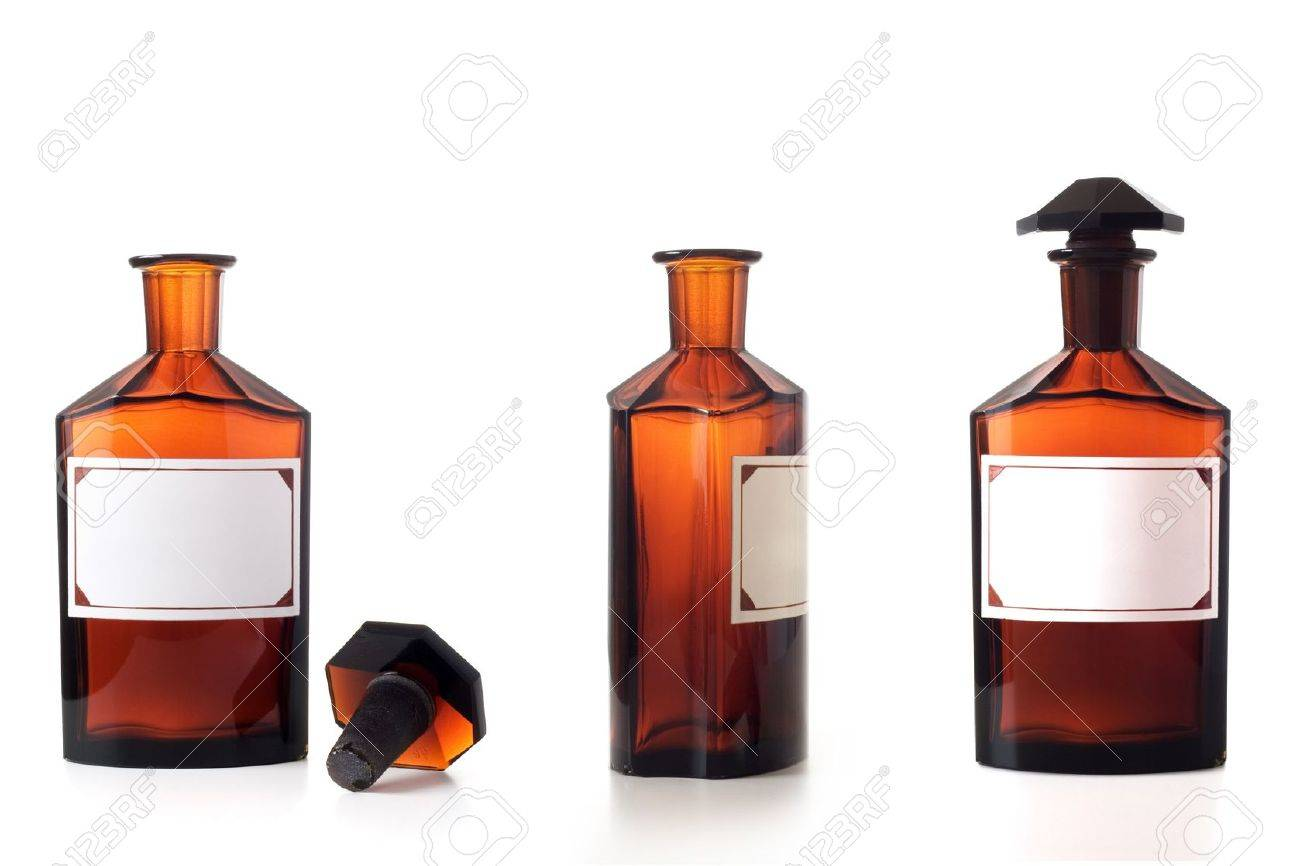 Set of vintage chemical bottles isolated over a white background. Stock Photo - 4849585