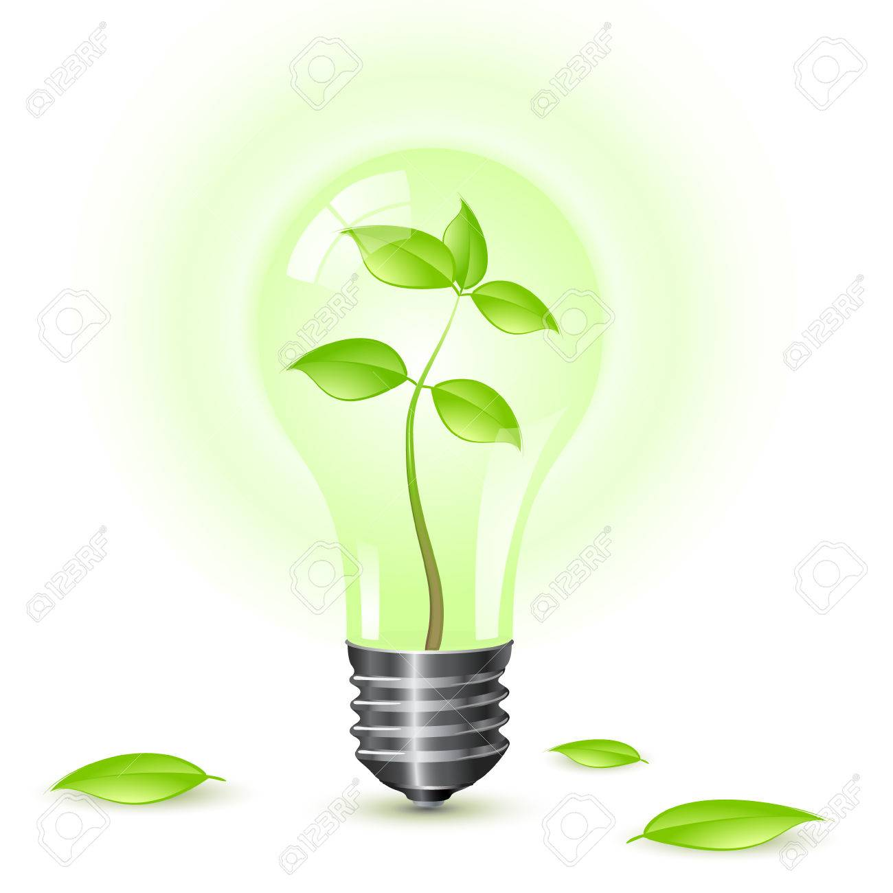 Environmental light bulb isolated over a white background. Stock Vector - 6568968
