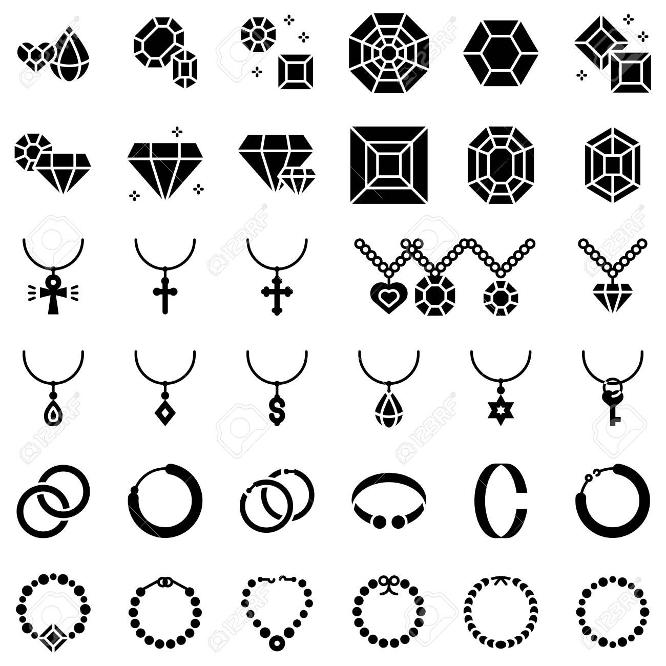 Accessories and Jewelry vector icon set, solid design - 125224669