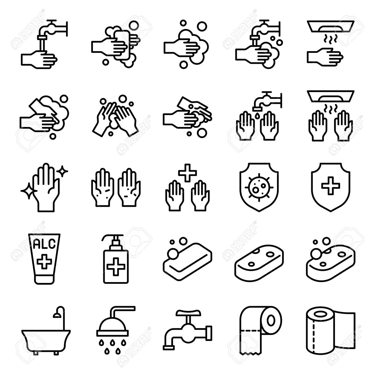 Bathroom Hygiene vector set, line design icon - 124177034