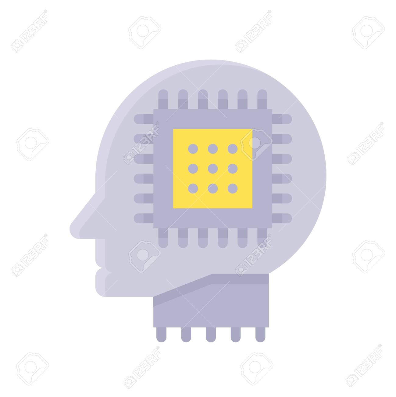 Robot head with circuit chip vector, Artificial related flat style icon - 136139954