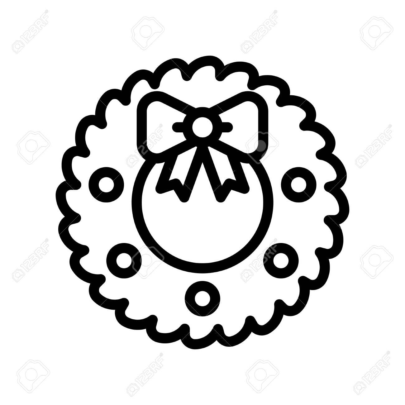 Christmas Wreath vector illustration, line style icon - 136139956