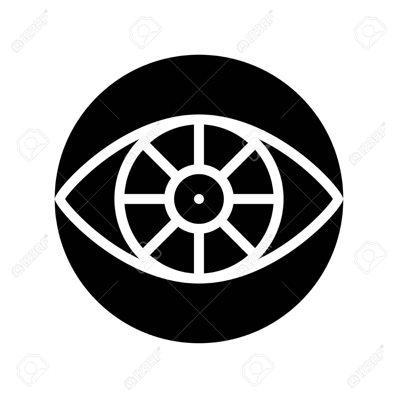 Cyber eye vector, Artificial related solid style icon - 136139957