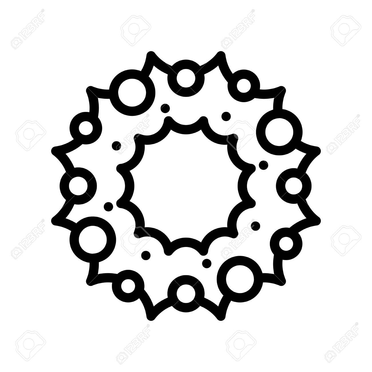 Christmas Wreath vector illustration, line style icon - 136139963