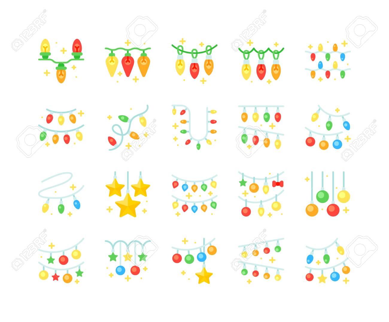 Christmas lights vector icon set, flat design - 136139975