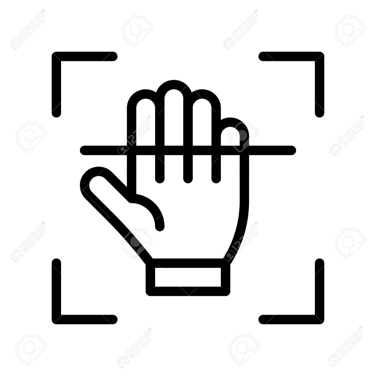 Electronic fingerprint recognition vector illustration, Future technology line design icon - 136139979