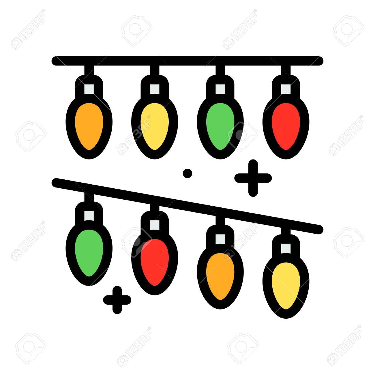Christmas lights filled design icon, vector illustration - 136139980