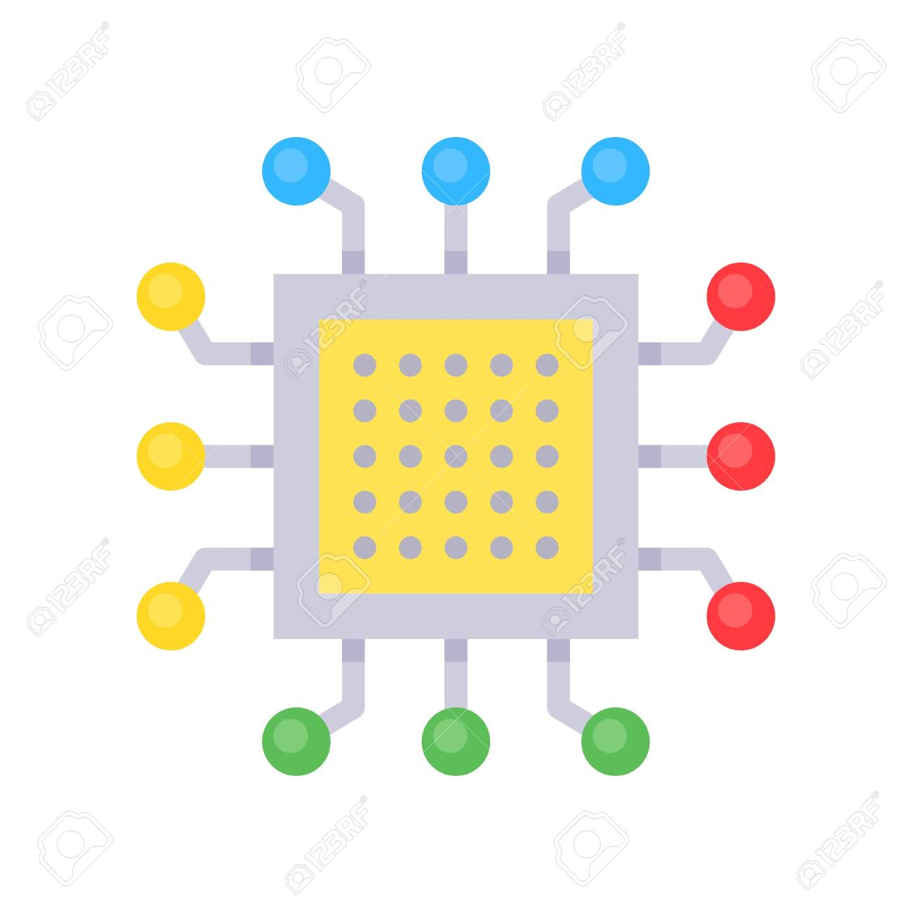 Integrated circuit vector, Artificial related flat style icon - 136139982