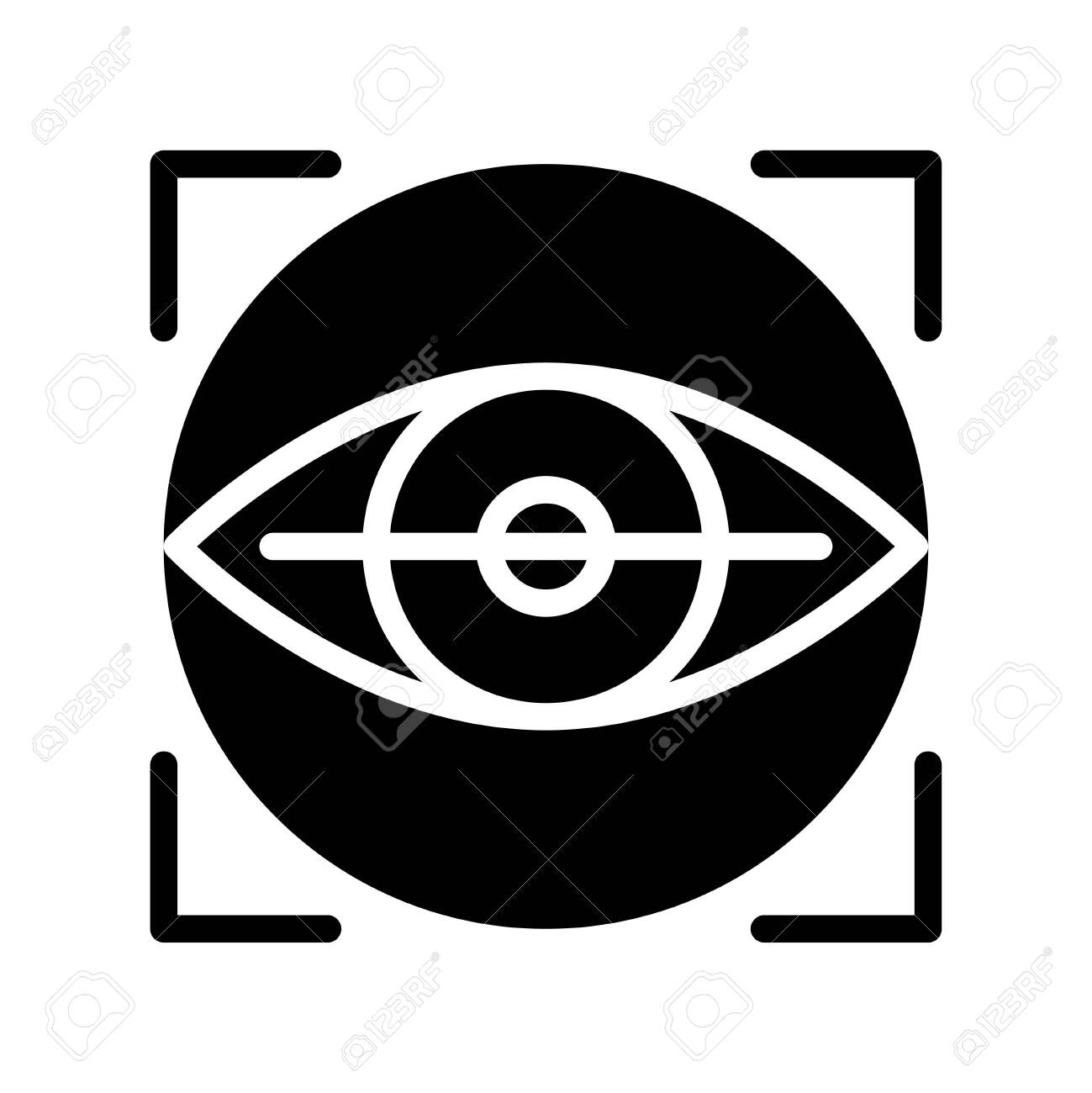 Retinal scan vector illustration, Future technology solid design icon - 136140003
