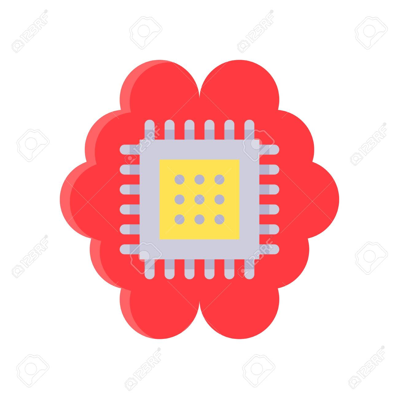Circuit chip with brain vector, Artificial related flat style icon - 136140004