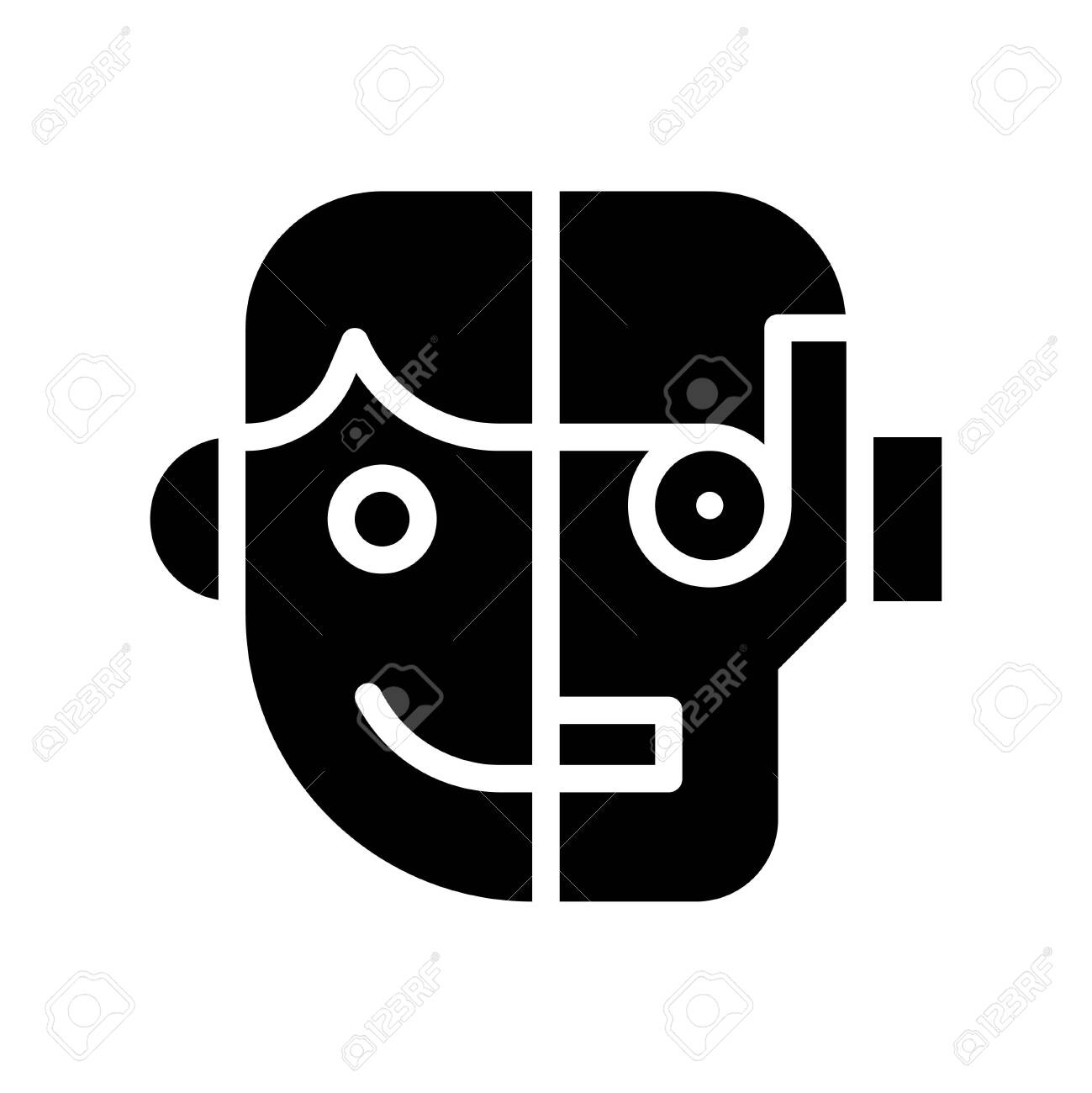 Humanoid vector, Artificial related solid style icon - 136140027