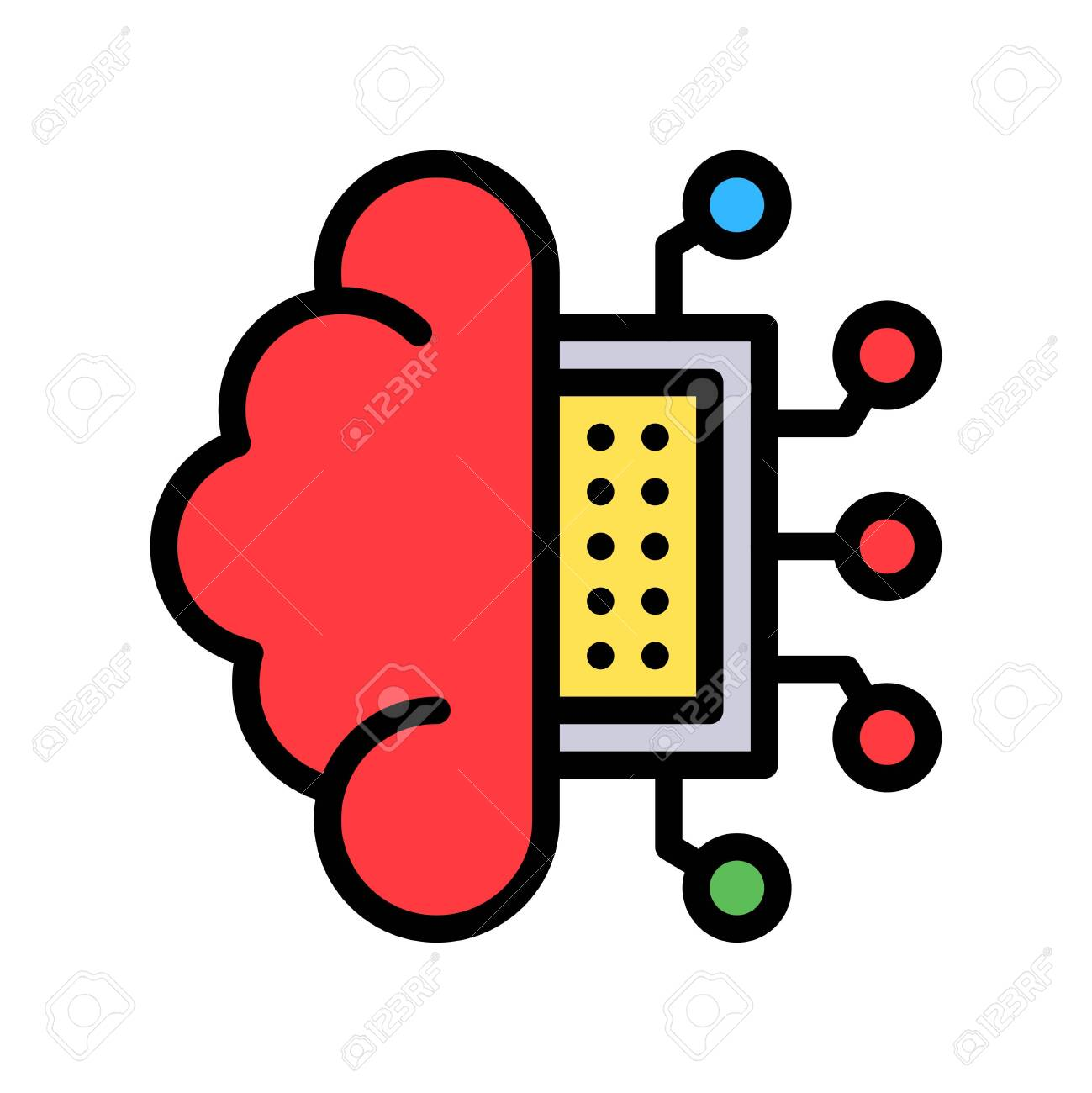 Circuit chip with brain vector, Artificial related filled style icon - 136140039