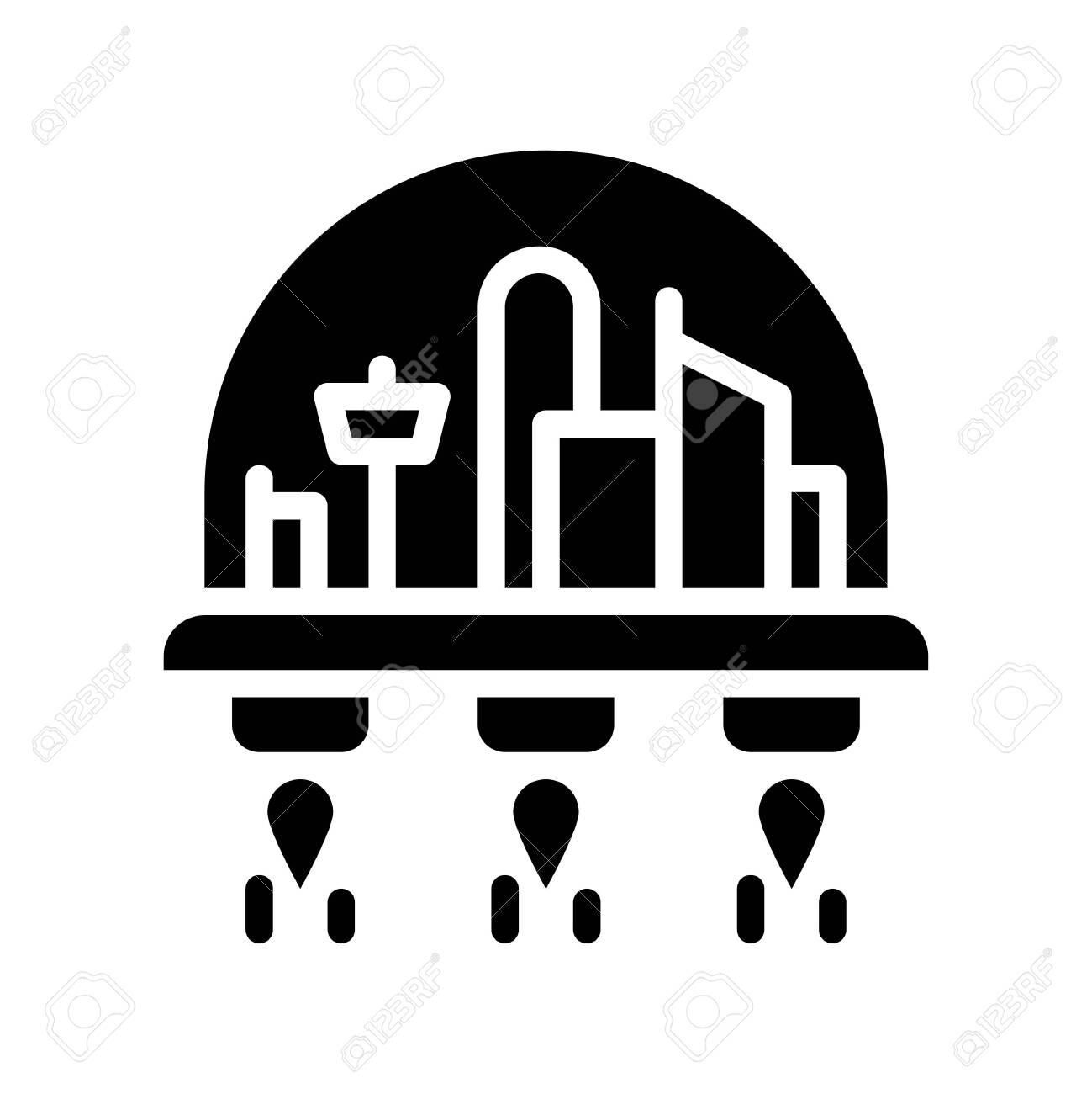 Space habitat vector illustration, Future technology solid design icon - 136140048