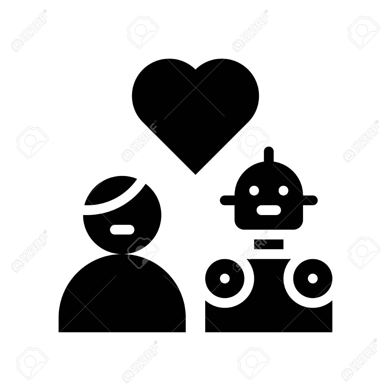 Human in love with robot vector, Robotics related solid style icon - 136140050