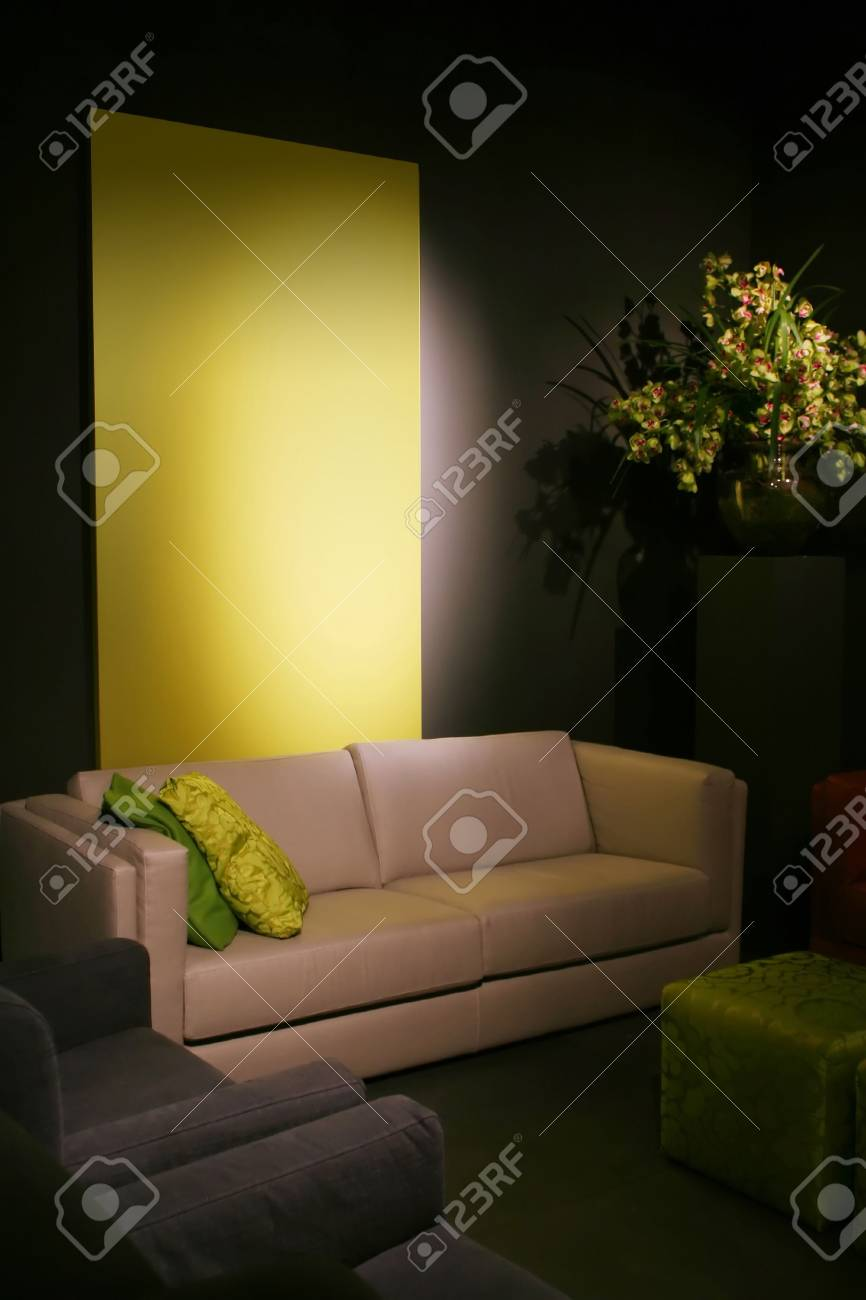 simple design idea with green elements in interior Stock Photo - 752627