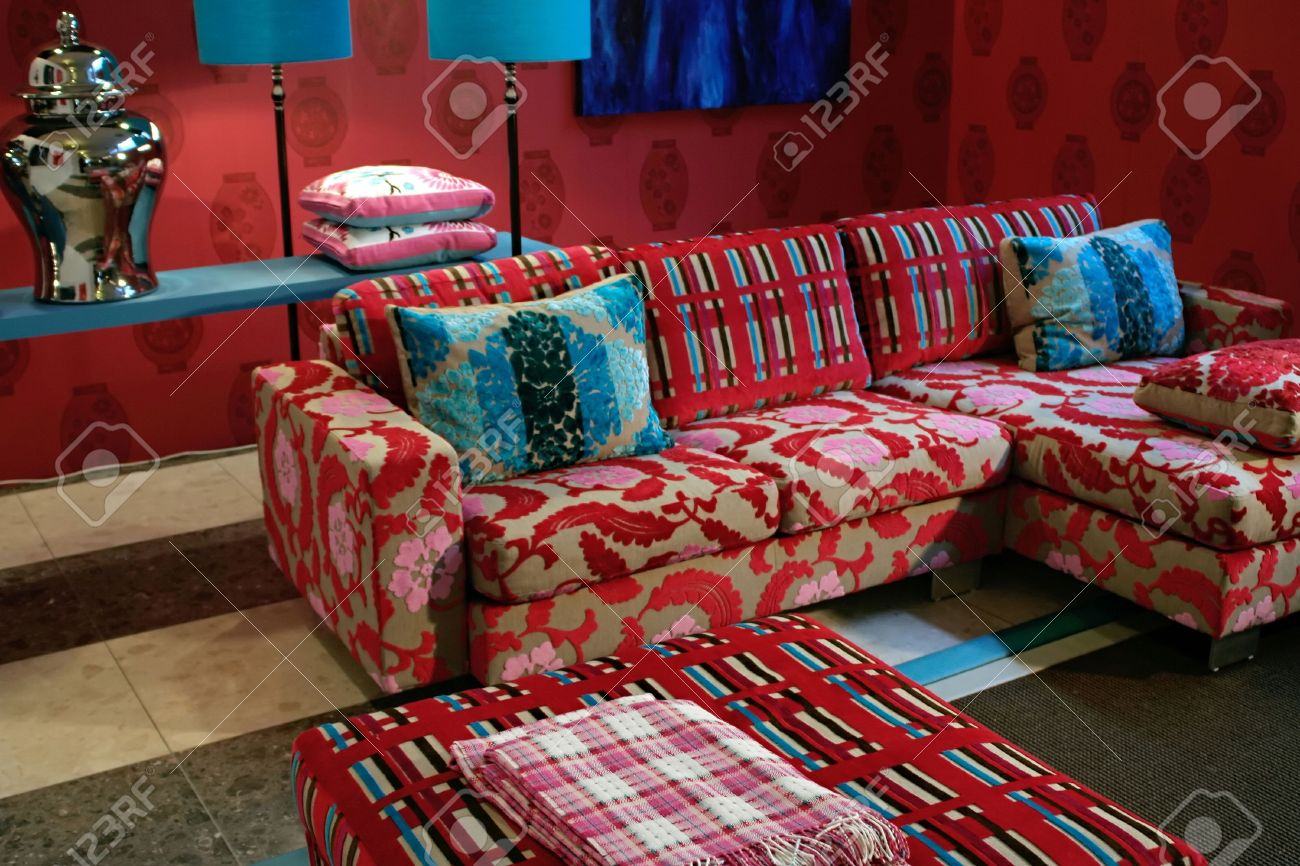 design of living,room in bright kitsch style