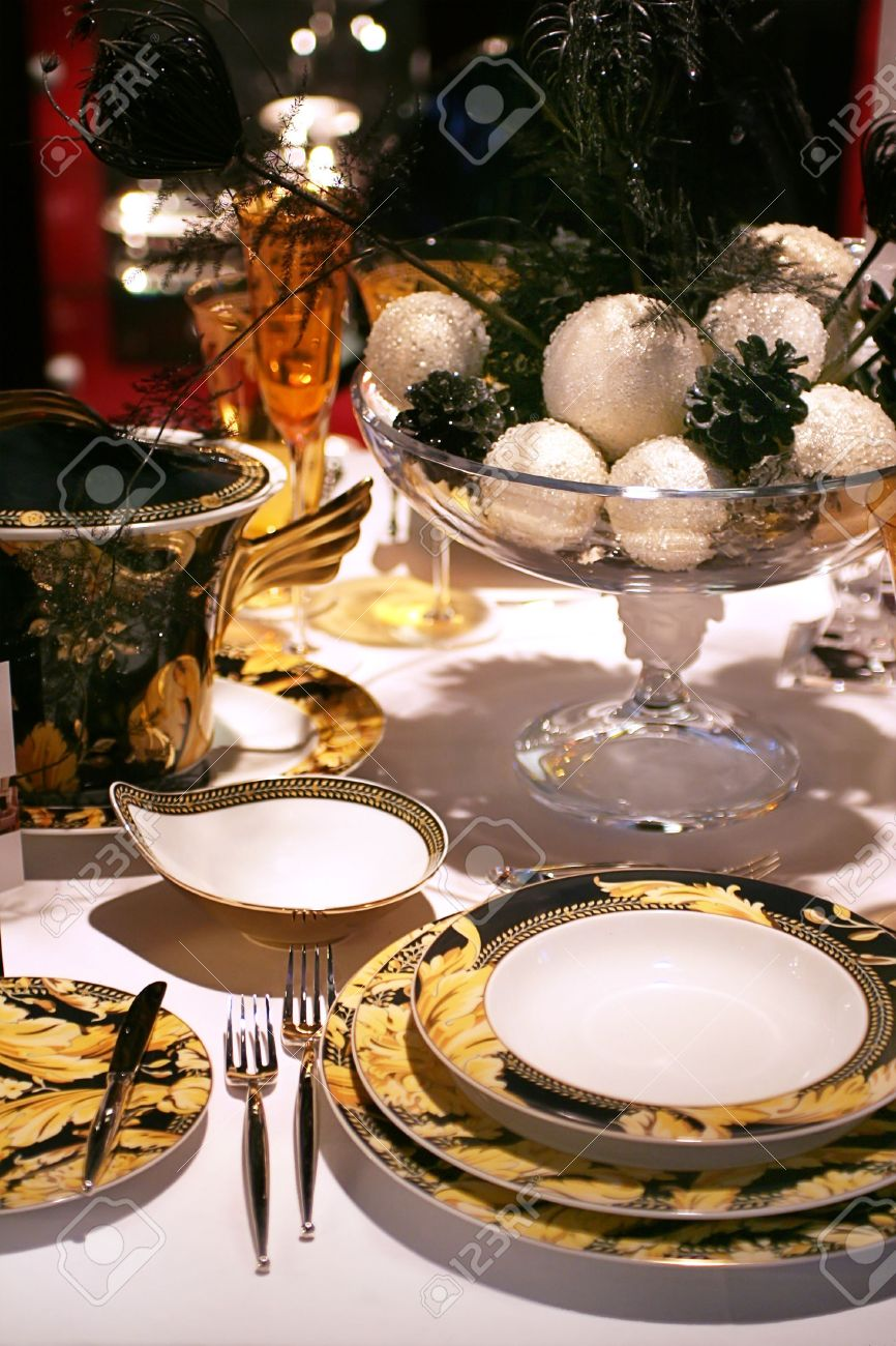 luxury christmas table with golden table set Stock Photo - 2273613 & Luxury Christmas Table With Golden Table Set Stock Photo Picture ...