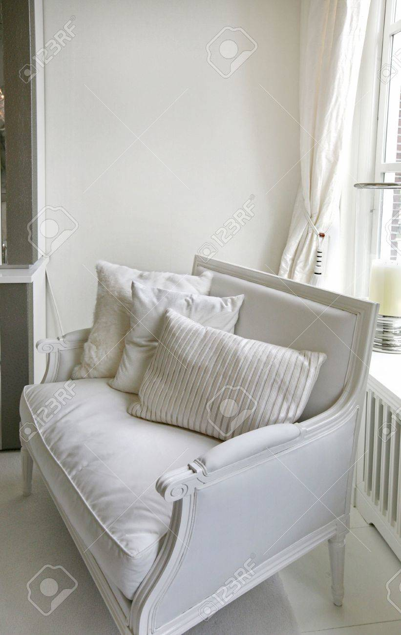 classic white chair with decorated fabric Stock Photo - 3395197