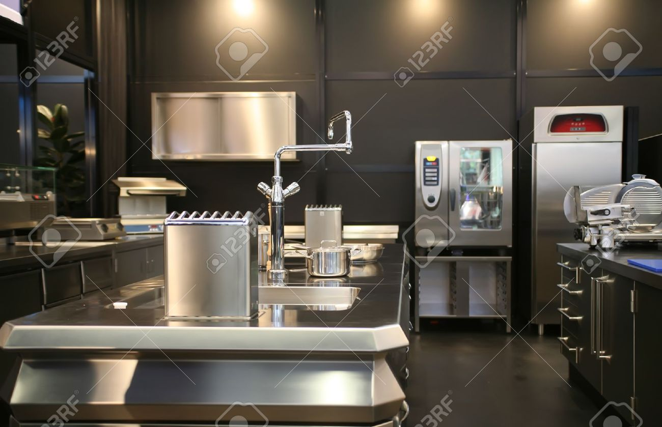 Interior Of New Industrial Kitchen Stock Photo Picture And - Industrial kitchen