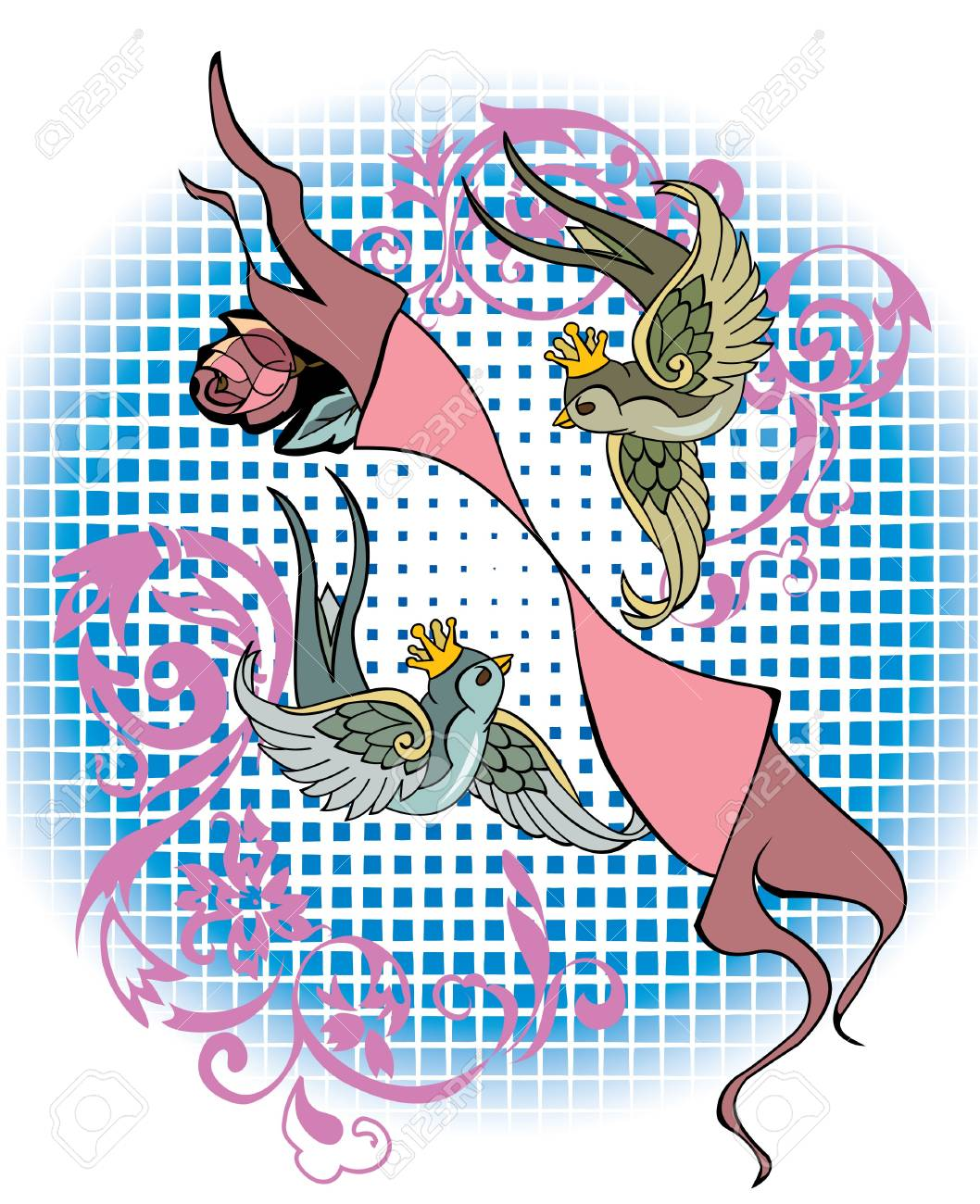 Gemini sign in tattoo style Stock Vector - 7456492