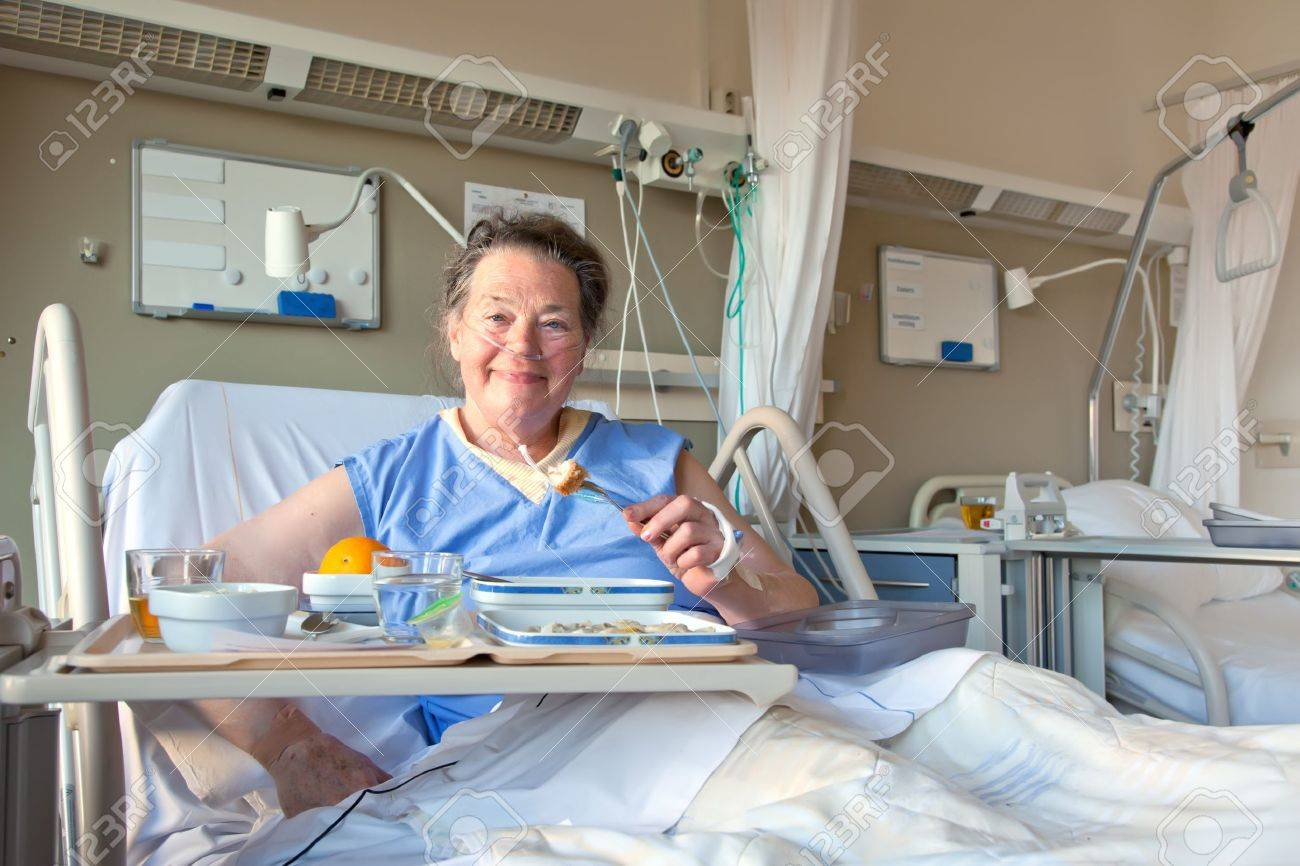 patient in hospital room in during dinner time Stock Photo - 9151021