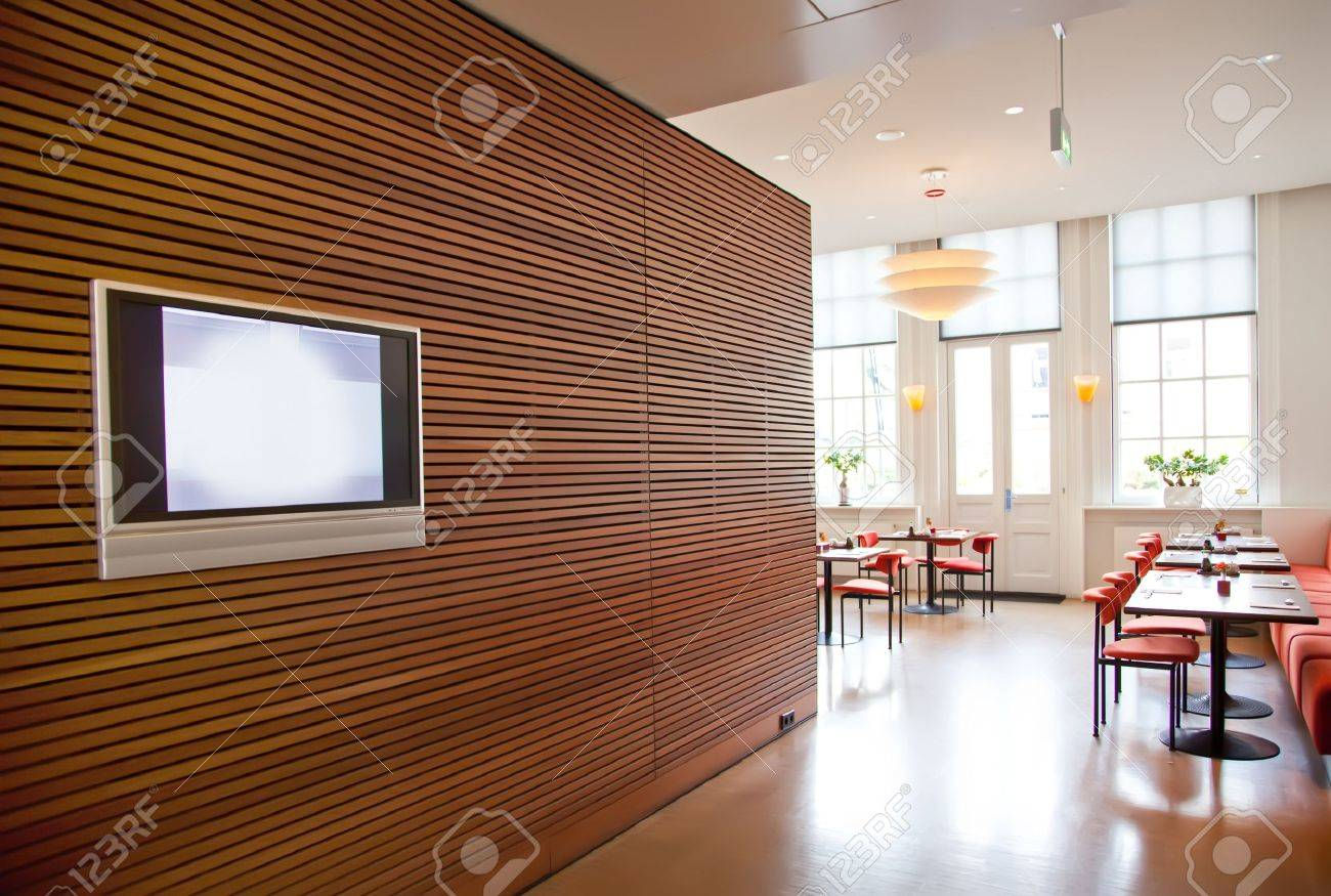 modern stylish wall in restaurant interior stock photo, picture
