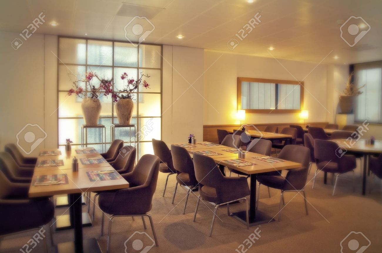 Modern Restaurant With Vases Decoration Stock Photo, Picture And ...