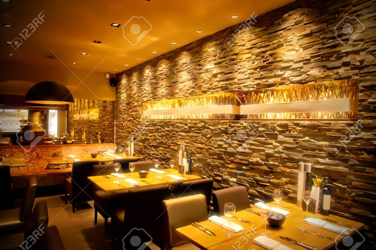 interior of cafe with stylish stone wall Stock Photo - 10578291