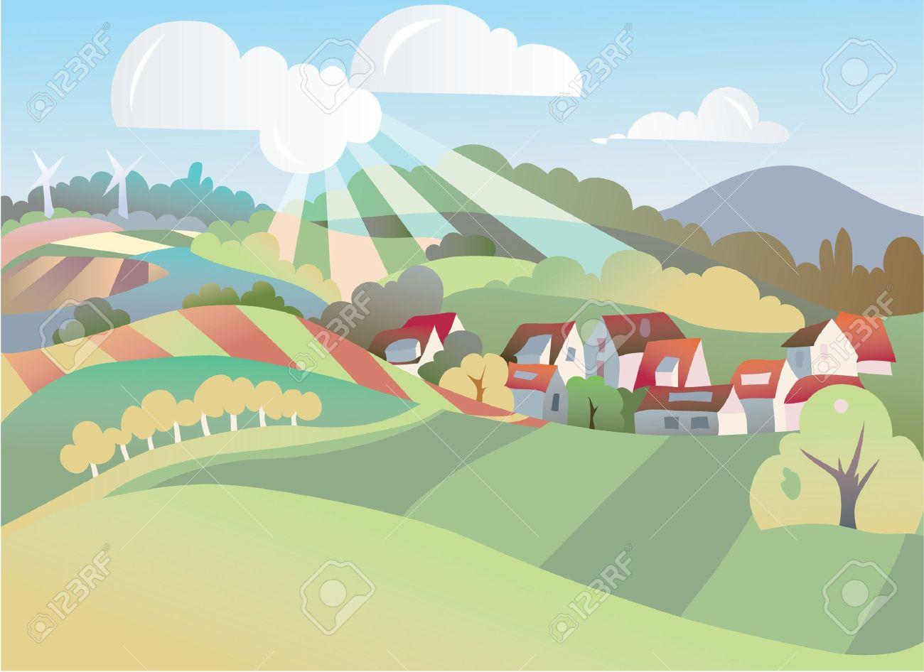 seasonal landscape illustration Stock Vector - 10633567