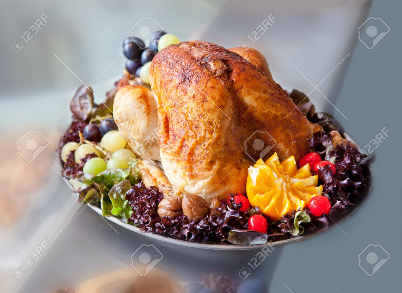 Stock Photo - turkey with fruit decoration on plate & Turkey With Fruit Decoration On Plate Stock Photo Picture And ...