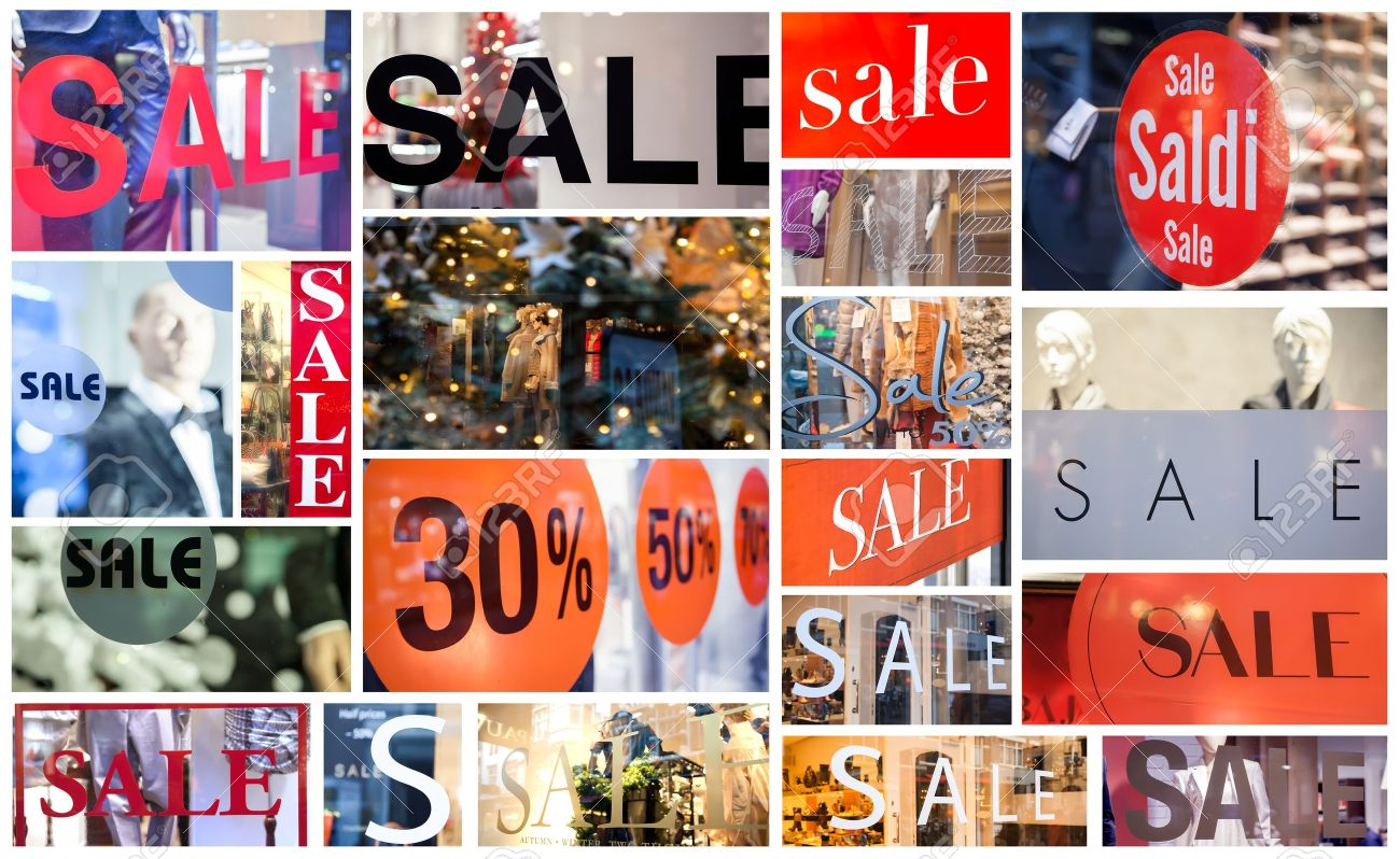 collage from sale stickers on shop windows Stock Photo - 17445774