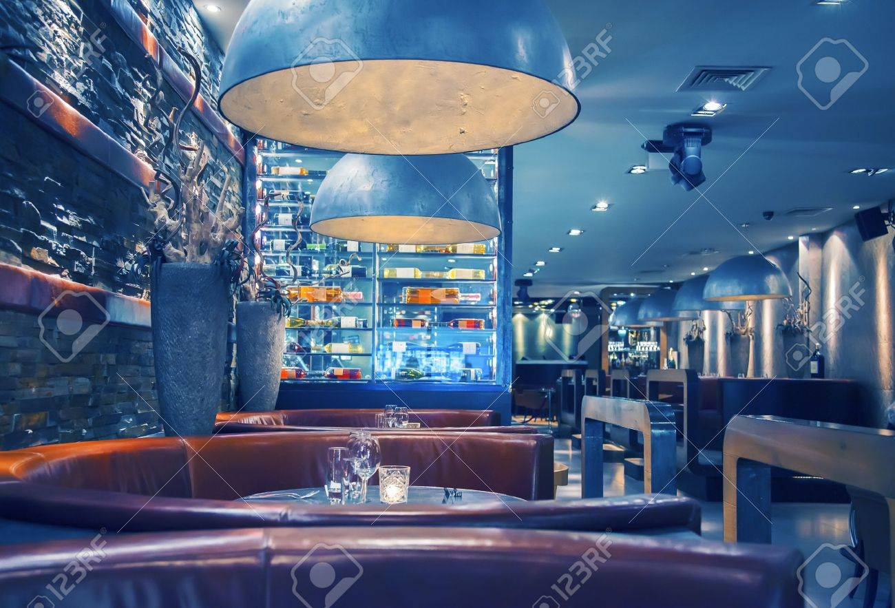 interior of evening  restaurant with decorative lamps Stock Photo - 18294491