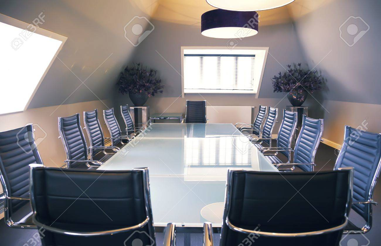 Empty Business Table In Luxury Office Stock Photo   22010562