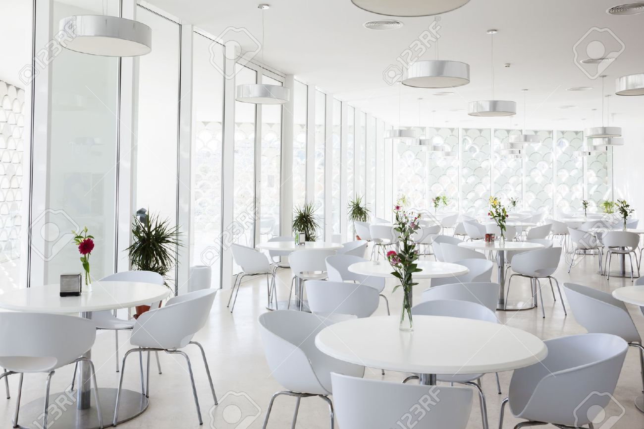 interior of white summer restaurant stock photo, picture and