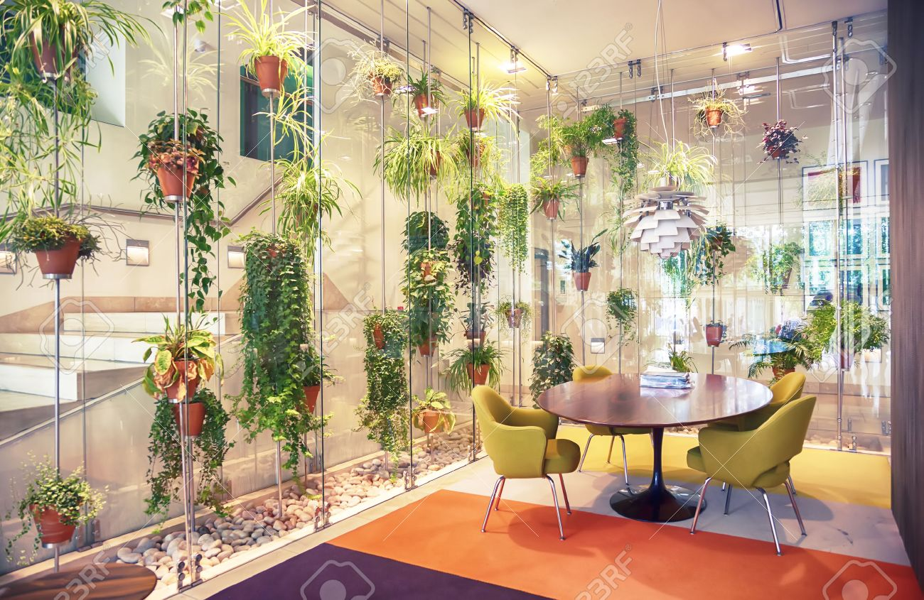 Interior with flowers decoration in hall of modern house stock photo