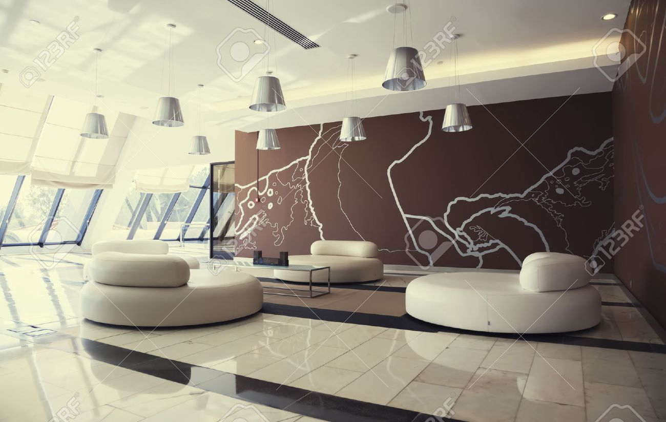 Decoration Of Entree Hall In Modern Hotel In Portugal Stock Photo ...