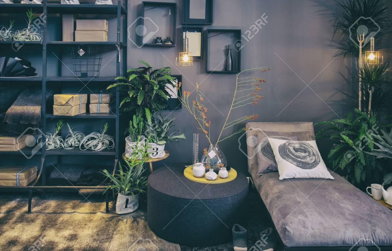 La Maison Patio Avec Mobilier Design Et D Coration Banque D Images