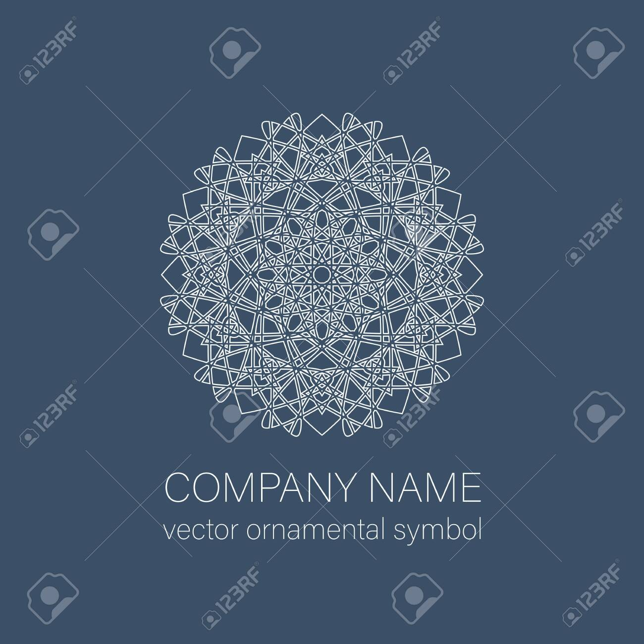 Geometric logo template. Vector linear arabic ornamental symbol - 153631589