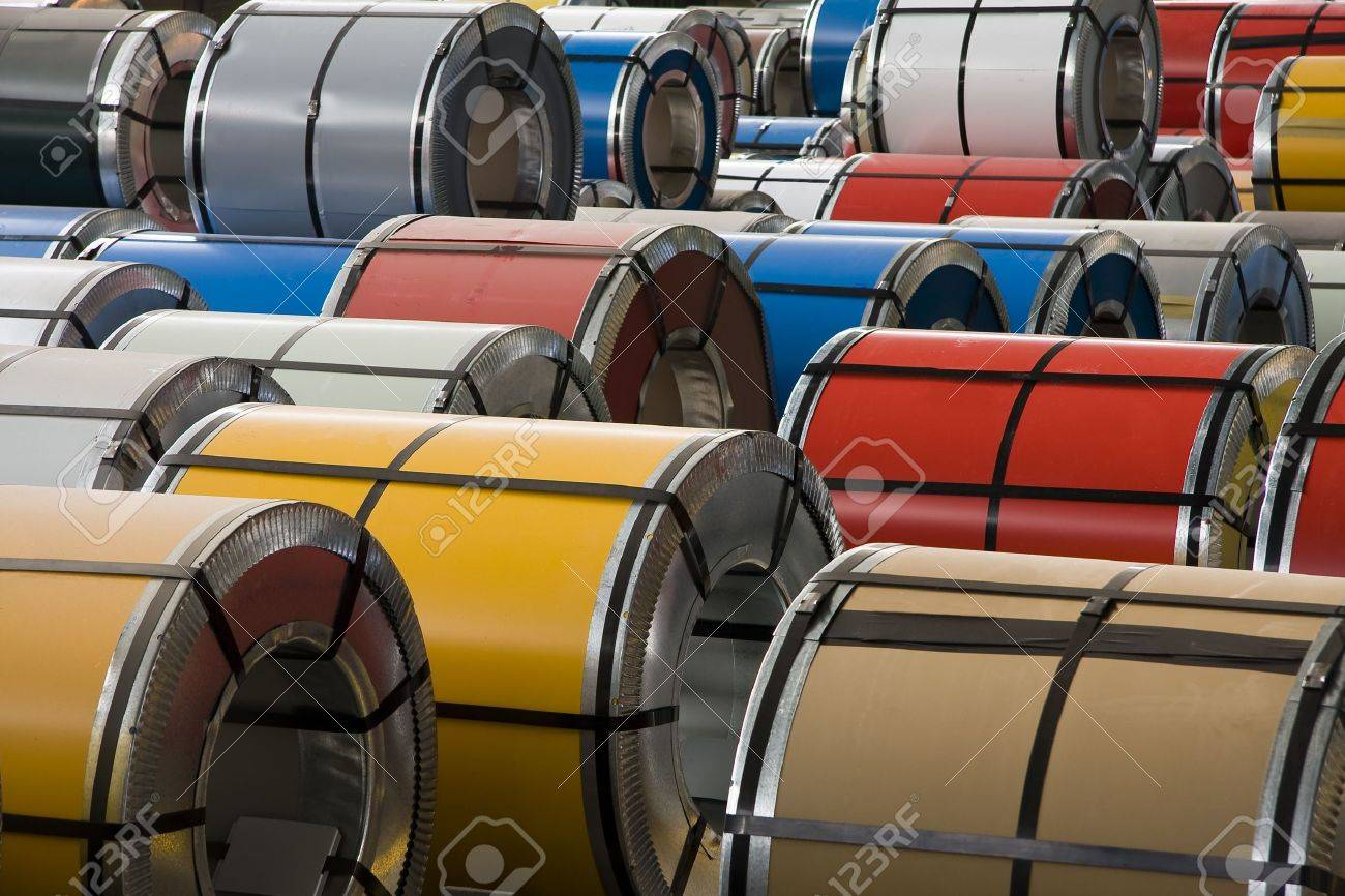 Rolls of colorful steel sheet Stock Photo - 5184649