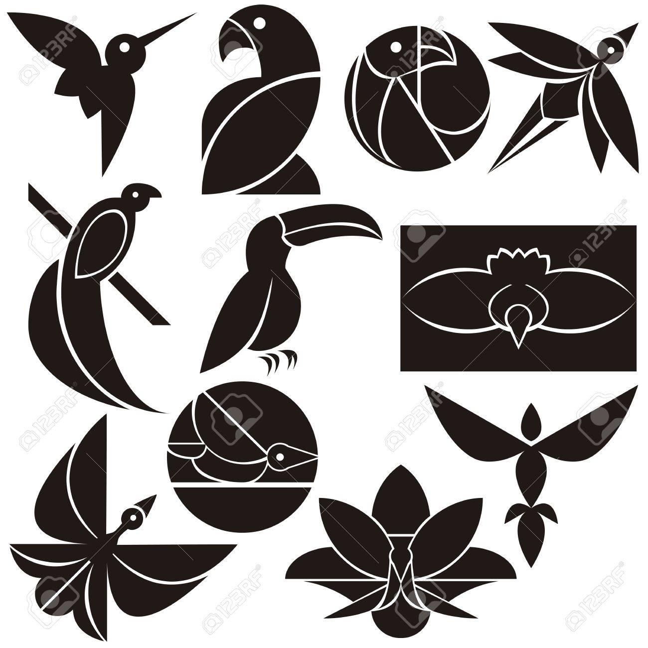 A vector set of beautiful eco logo birds - 20943682