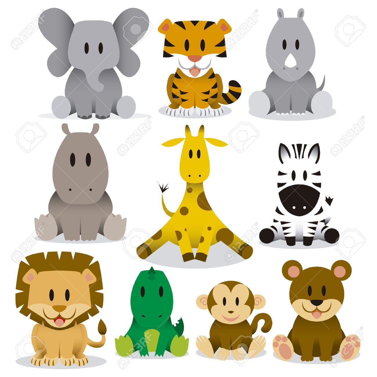 a set of cute vector cartoon wild animals royalty free cliparts
