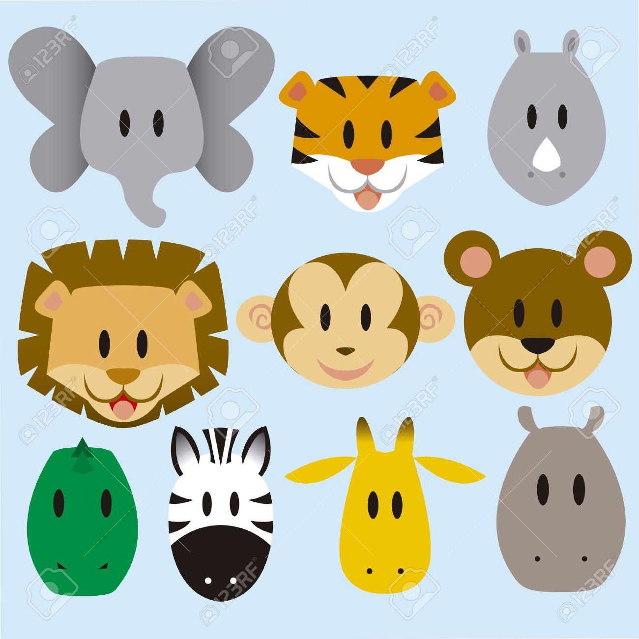 A set of cute vector cartoon wild animals - 20943685